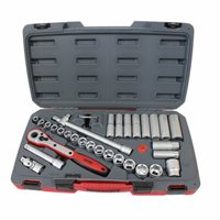 "1/2"" Drive SOCKET SET Standard & Deep 34 Piece - T1234 by Teng"
