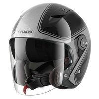 Shark RSJ SASSY Open Faced Helmets (Black/Silver)