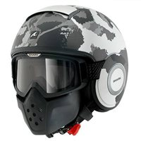 Shark RAW KURTZ Open Faced Helmet (White/Silver/Anthracite)
