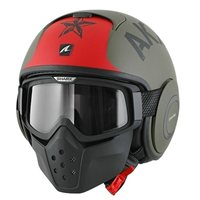 Shark RAW SOYOUZ Open Faced Helmet (Matt Green/Black/Red)