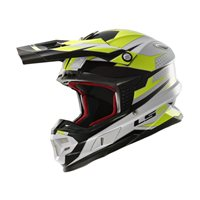 LS2 MX456 LIGHT FACTORY Moto-X Helmet (White/Black/Hi-Vis Yellow)