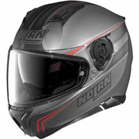 Nolan N87 RAPID N-Com Motorcycle Helmet (Flat Lava Grey/Red)