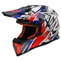 LS2 MX437 Fast Strong Moto-X Helmet (White/Red/Blue)