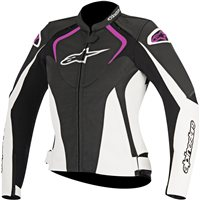 Alpinestars Stella Jaws Ladies Leather Jacket (Black/White/Fuchsia)