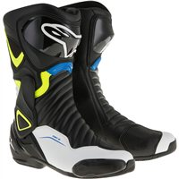 Alpinestars SMX-6 v2 Motorcycle Boot (Black/White/Yellow/Fluo Blue)