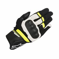 Alpinestars Booster Motorcycle Glove (Black/White/Fluo Yellow)