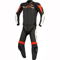Alpinestars Challenger v2 2 Piece Motorcycle Leathers (Black White Red Fluo)
