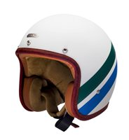 Hedon Open Faced Helmet Stevie (White/Blue/Green) - Special Order