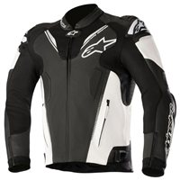 ATEM v3 Leather Motorcycle Jacket (Black/White) by Alpinestars