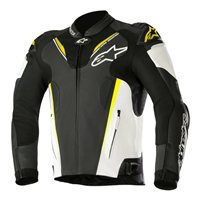 Alpinestars ATEM v3 Leather Motorcycle Jacket (Black/White/Fluo Yellow)