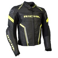 Richa Monza Leather Jacket (Black|Fluo Yellow)
