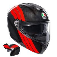 AGV Sports Modular Stripes Flip Front Helmet (Carbon|Dark Red)