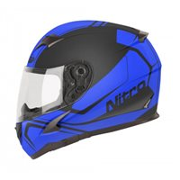 Nitro N2400 Rogue Motorcycle Helmet (Black|Blue)