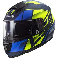 LS2 FF397 Vector Evo FT2 Kripton Helmet (Matt Blue|Hi-Vis Yellow)