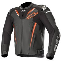 Alpinestars ATEM v3 Leather Motorcycle Jacket (Black|Flo Red)