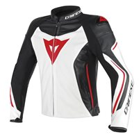 Dainese Assen Perforated Leather Jacket (White/Black/Red-Lava)
