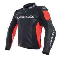 Dainese Racing 3 Leather Jacket (Black|Flo Red)