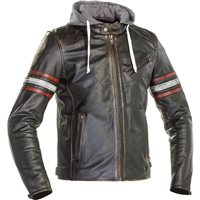 Richa Toulon 2 Leather Jacket Hoodie (Black|Red)