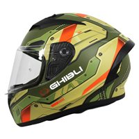 Vemar Ghibli Robot Motorcycle Helmet (Matt Khaki/Orange)