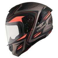 Vemar Hurricane Laser Motorcycle Helmet (Matt Bronze|Fluo Orange)