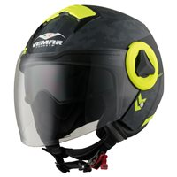 Vemar Breeze Camo Open Face Helmet (Matt Grey|Fluo Yellow)