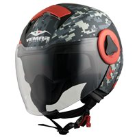 Vemar Breeze Camo Open Face Helmet (Matt Grey|Red)