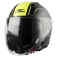 Vemar Feng Hive Open Face Helmet (Matt Black|Fluo Yellow)