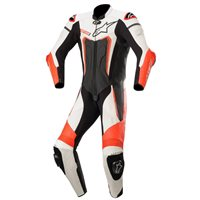 Alpinestars Motegi v3 One Piece Leathers (Black|White|Flo Red)