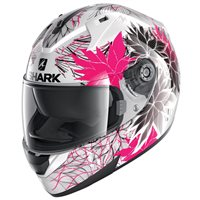 Shark Ridill 1.2 Nelum Motorcycle Helmet (White/Black/Violet)