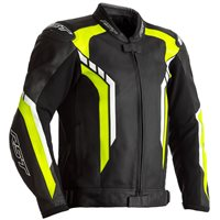 RST Axis CE Leather Jacket 2353 (Black/Flo Yellow/White)
