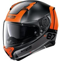 Nolan N87 Plus Distinctive N-Com Helmet (Flat Black/Orange)