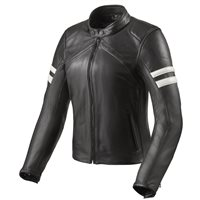 Revit Meridian Womens Leather Jacket (Black|White)