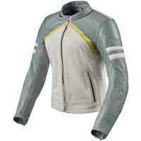 Revit Meridian Womens Leather Jacket (White|Green)
