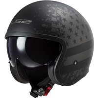 LS2 OF599 Spitfire Black Flag Open Face Helmet (Matt Black)