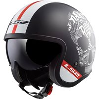LS2 OF599 Spitfire Inky Open Face Helmet (Matt Black/White)