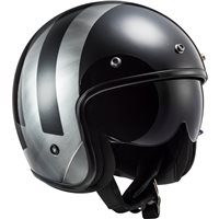 LS2 OF601 Bob Lines Open Face Helmet (Black|Silver)