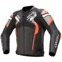 Alpinestars Atem v4 Leather Jacket (Black/Grey/Flo Red)