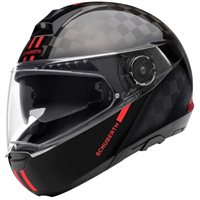 Schuberth C4 PRO Carbon Fusion Red Flip Front Helmet (Black/Red)