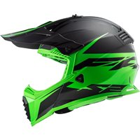 LS2 MX437 Evo Fast Roar Helmet (Matt Black/Green)