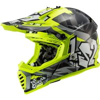 LS2 MX437 Fast Evo Crusher Off Road Helmet (Matt Black/Hi Vis Yellow)