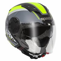 Spada Lycan Strobe Open Face Helmet (Matt Black/Yellow)