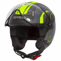 Spada Hellion Arrow Open Face Helmet (Matt Black/Flo Yellow)