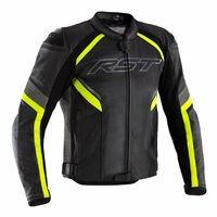 RST Sabre CE Leather Jacket 2530 (Black/Grey/Flo Yellow)