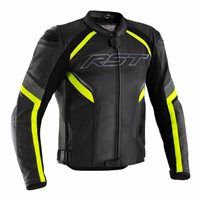 RST Sabre Airbag CE Leather Jacket 2529 (Black/Grey/Flo Yellow)