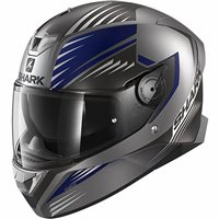 Shark Skwal 2 Hallder Motorcycle Helmet (Matt Anthracite/Blue)