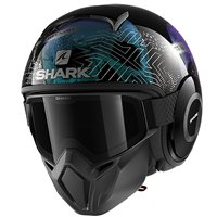 Shark Street Drak Krull Open Face Helmet (Black/Pearl Green)