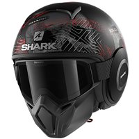 Shark Street Drak Krull Open Face Helmet (Matt Black/Silver/Red)