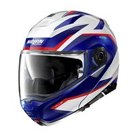 Nolan N100-5 Plus Overland N-Com Flip Front Helmet (Metal White/Blue/Red)