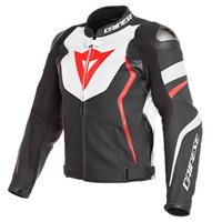 Dainese Avro 4 Leather Jacket (White|Flo Red)