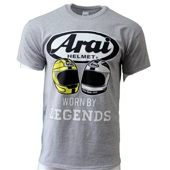 Arai Legends T-Shirt, Gildan Heavy Cotton Grey Arai Legends T-Shirt - Click to view larger image